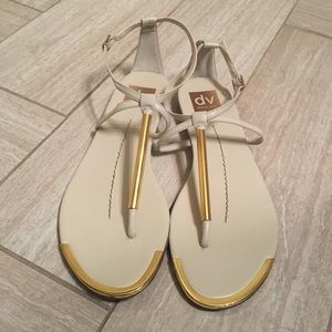 Dolce vita cream sandals with gold trimmings